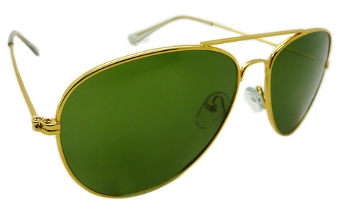 Aviator Sunglasses Classic Style Metal Gold Frame with Green Genuine Glass Lens