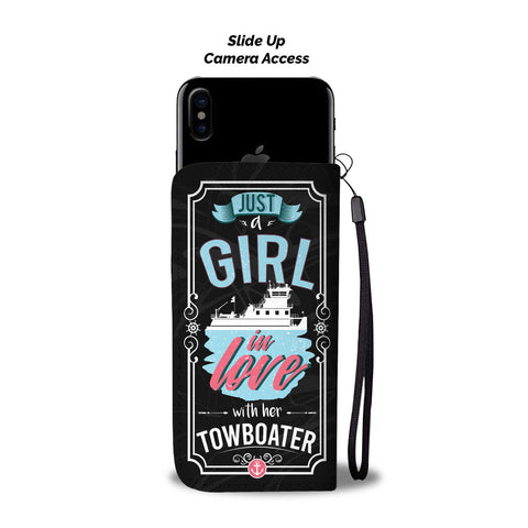 Just a Girl In Love With Her Towboater Phone Wallet Case Black