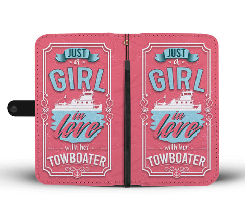 Just a Girl In Love With Her Towboater Phone Wallet Case Pink