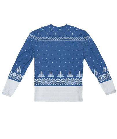 Ugly Christmas Sweater Design Blue -  Sublimation Long Sleeve