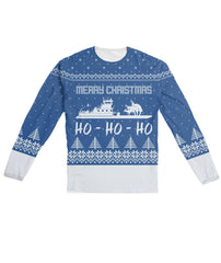 Towboater Ugly Christmas Sweater Blue