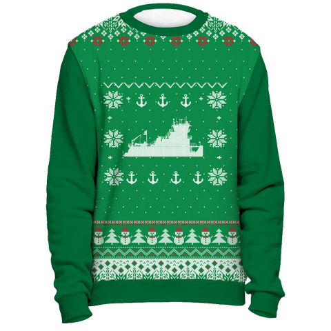 Towboater Ugly Christmas Sweater Anchor Green