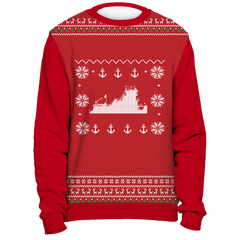 Towboater Ugly Christmas Sweater Anchor Red