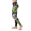 Image of Light Green and Purple Sugar Skull Leggings