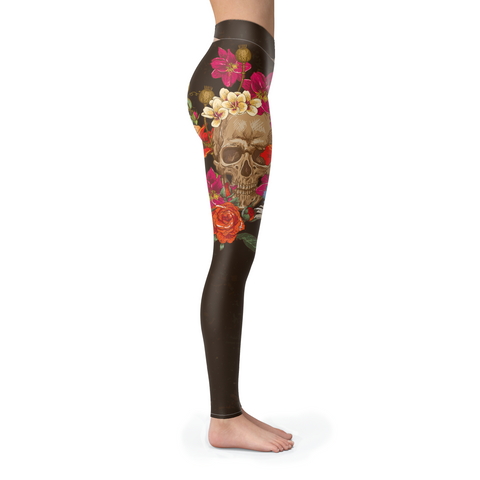 Skull Head Leggings BROWN
