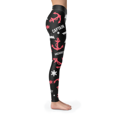 Towboaters Ugly Christmas Leggings PAT3 PINK ANCHOR