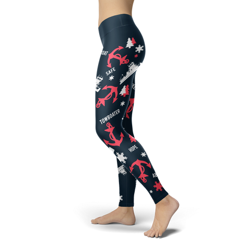 Towboaters Ugly Christmas Leggings PAT3 NAVY