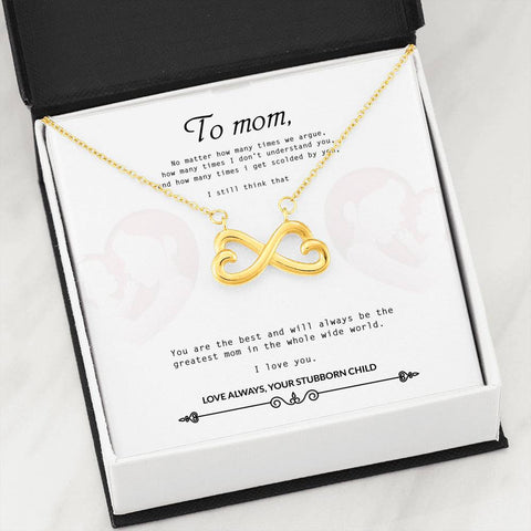 Towboater's Mom Infinity Necklace With Special Quote 3
