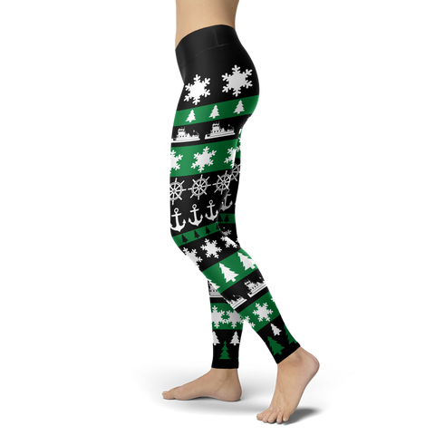 Towboaters Ugly Christmas Leggings GREEN