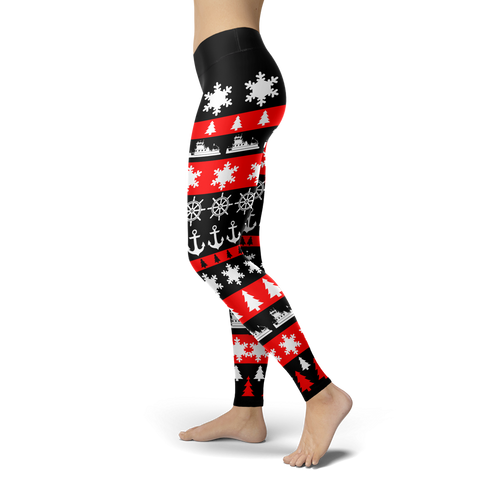 Towboaters Ugly Christmas Leggings RED