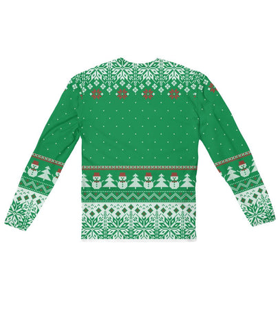 Ugly Christmas Sweater Design Green  -  Sublimation Long Sleeve