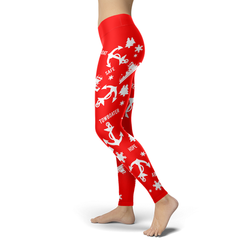 Towboaters Ugly Christmas Leggings PAT2 RED