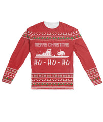 Funny Ugly Christmas Sweater Design Red - Sublimation Long Sleeve