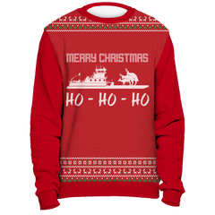 Towboater Ugly Christmas Sweater - Merry Christmas HoHoHo Red