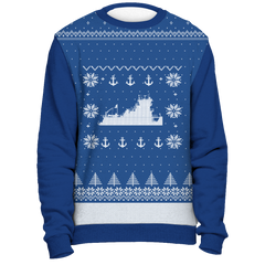 Towboater Ugly Christmas Sweater Anchor Blue