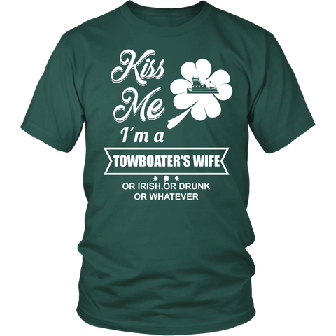 Kiss Me I'm a Towboater's Wife - Funny St Patrick's day Tshirt