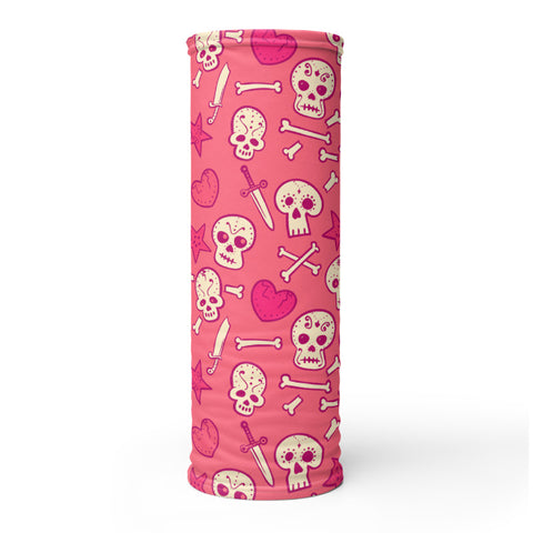 Towboater's Spouse Accessories Neck Gaiter Sugar Skull Pink