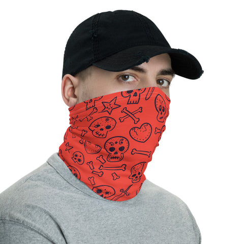 Towboater's Spouse Accessories Neck Gaiter Sugar Skull Red