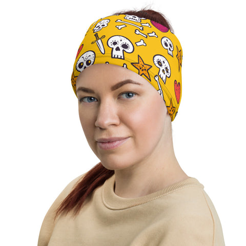 Towboater's Spouse Accessories Neck Gaiter Sugar Skull Yellow
