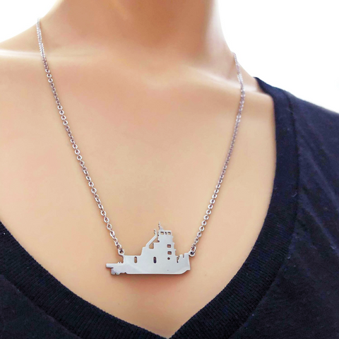 Beautiful Silver -  Towboat Necklace - Towboater's Wife Necklace