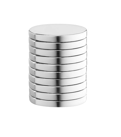 "BYKES 10 Neodymium Super Strong Extremely Powerful Rare Earth Refrigerator Magnets 1"" x 1/8"" Inch Thick Disc N40"