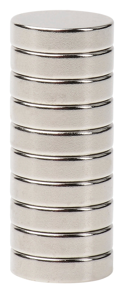 BYKES 10 Neodymium Super Strong Extremely Powerful Rare Earth Refrigerator Magnets 1/2 x 1/8 Inch Disc N52