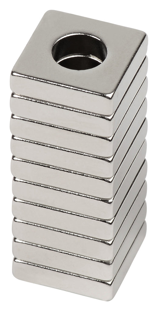 "BYKES 10 Neodymium Magnets Strong Magnets Refrigerator Magnets Super Strong Rare Earth Magnets 1/2"" x 1/2"" Outer Dimension x 1/4"" Inner Diameter x 1/8"" thick Square Ring Magnets N48"