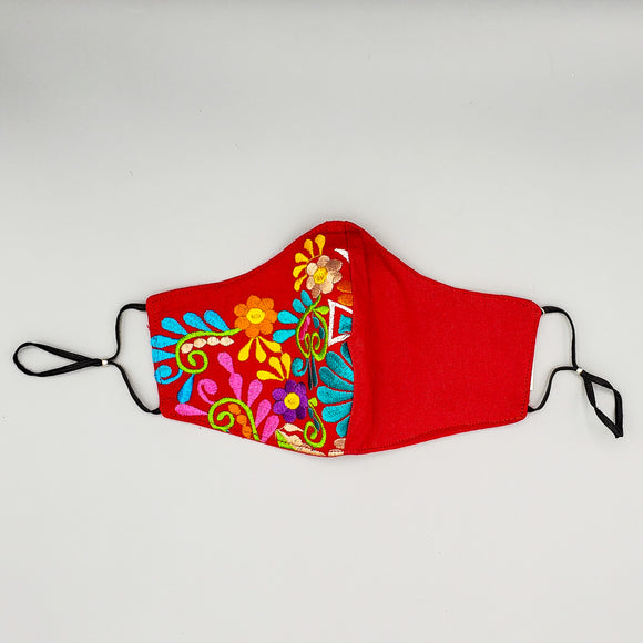 Face Mask by Mayan Expressions [Flowers on red]
