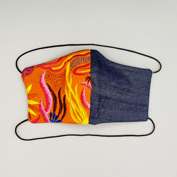 Face Mask by Mayan Expressions [Denim + Orange]