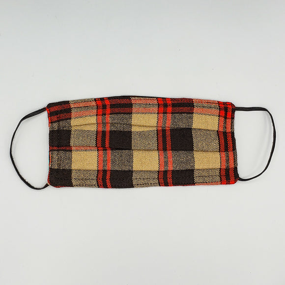 Face Mask by Mayan Expressions [Red/Brown/Black Plaid]