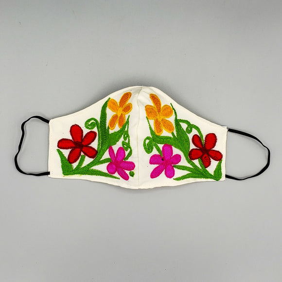 Face Mask by Mayan Expressions [Flowers on white]