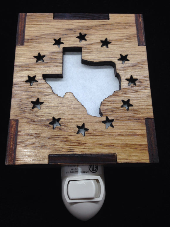 Wooden Laser Cut Night Light Texas Star Halo Design