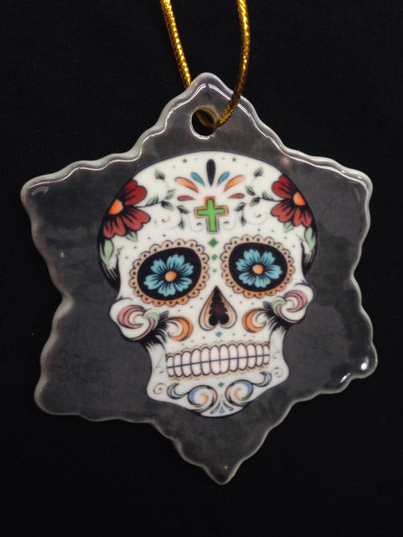Ceramic Holiday Ornament - Sugar Skull