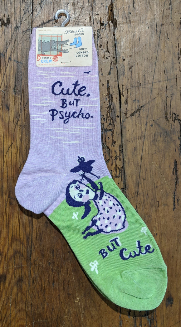 Socks - Women's Crew Socks - Cute. But Psycho. But Cute