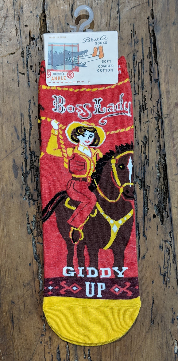 Socks - Women's Ankle Socks -Boss Lady Giddy Up