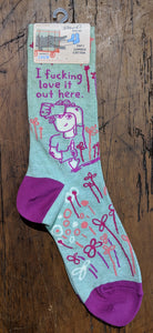 """I fucking love it out here."" Women's crew socks"