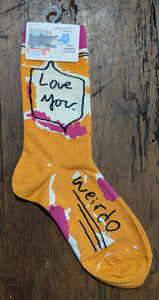 "Love you. Weirdo"" Women's crew socks"