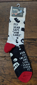 """My head says ""Who Cares"" and my socks are like, ""Yeah fuck it"""" Men's crew socks"