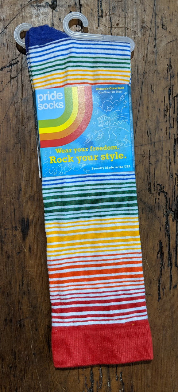 Socks - Rainbow Stripes Women's Crew/Knee-High Pride Socks