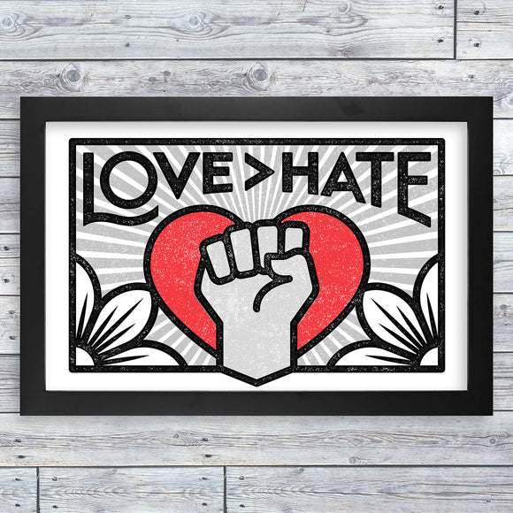 Framed Print - Love > Hate (17