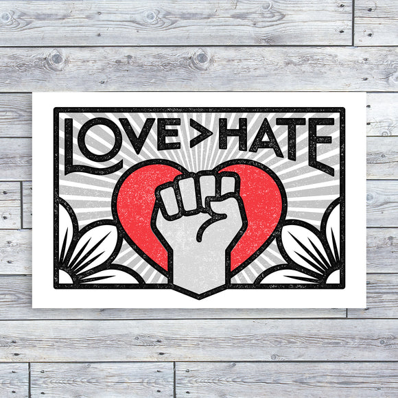 Unframed Print - Love > Hate (17