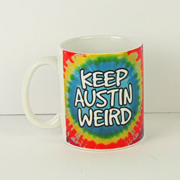 Ceramic Coffee Mug - Keep Austin Weird Tie Dye