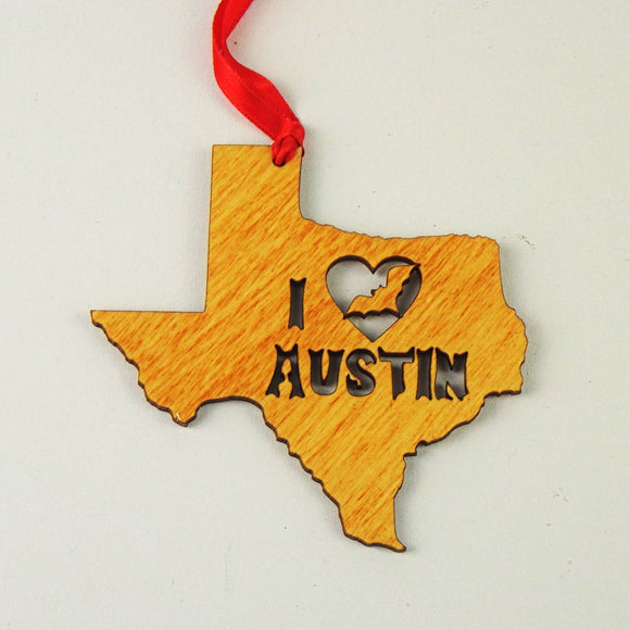 Wooden Laser Cut Ornament - I Heart Austin Design