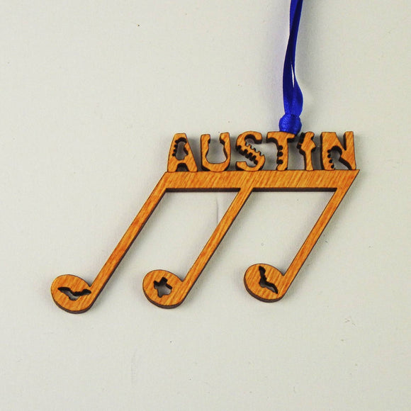 Wooden Laser Cut Ornament - Austin 8th Notes