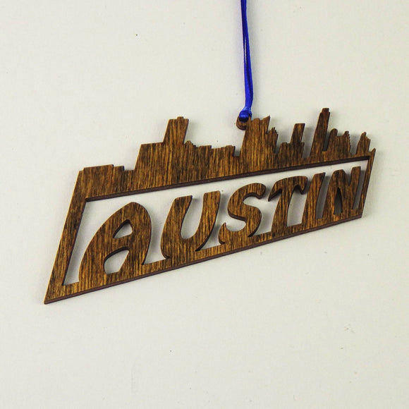 Wooden Laser Cut Ornament - Austin Skyline Design
