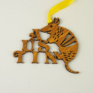 Wooden Laser Cut Ornament - Armadillo Design