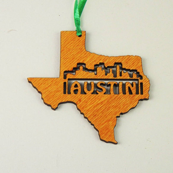 Wooden Laser Cut Ornament - Texas + Austin Skyline Design