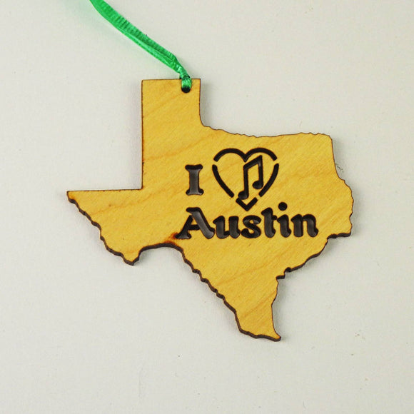 Wooden Laser Cut Ornament - I Heart Austin Music Design