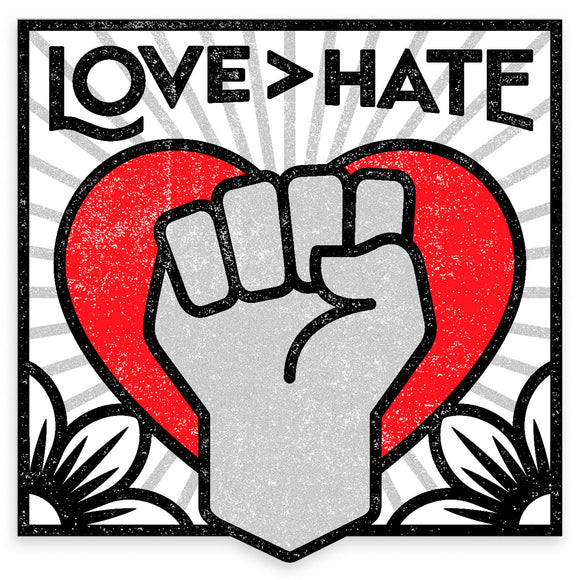 Sticker - Love > Hate (Red)