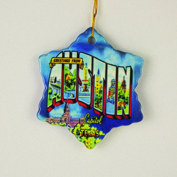 Ceramic Holiday Ornament - Greetings From Austin Capitol of Texas